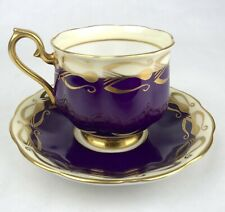 Vintage ROYAL ALBERT Art Deco Purple & Gold TEA CUP & SAUCER Bone China England