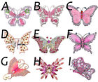 Chic Pink Silver Crystal Rhinestone Butterfly Christmas Gift Pin Brooch Jewelry