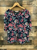 Skies Are Blue Women's Semi Sheer Floral Button Down Blouse Top Size M