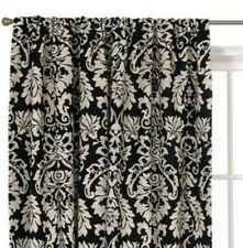 Waverly Home Damask Curtain Panels in Black And White