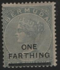 BERMUDA SG30 Queen Victoria 1901 One Farthing on 1/-. Dull Grey Mounted Mint
