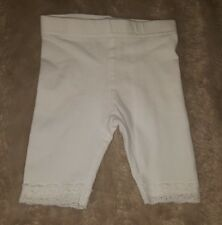 BABY GIRLS Sz 000 white TARGET leggings CUTE! ELASTIC WAIST! LACE TRIMS!