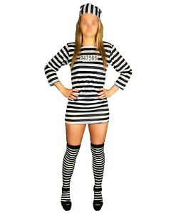 LADIES HALLOWEEN FANCY DRESS CONVICT PRISONER COSTUME ZOMBIE JAILBIRD OUTFIT