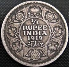 1919 British India 1/4 Rupee KM#518 - Silver Coin