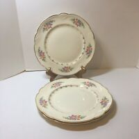 "3 Dinner Plates Homer Laughlin Eggshell Georgian 10"" Gold Trim Flowers Scalloped"