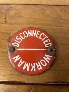 Vintage Enamelled Railway Workman Badge Sign