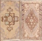 Set of 2 Vintage Muted Geometric Anatolian Area Rug Hand-Made Foyer Carpet 2x3