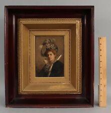 Small Signed 1898 Antique 19thC Victorian Aristocrat Woman Portrait Oil Painting