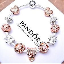 Authentic Pandora Bracelet Silver with ROSE GOLD LOVE European Charms