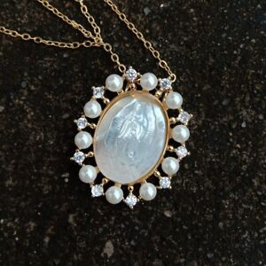 White Shell Virgin Mary CZ Micro Pave Shell Pearl Oval Shape Pendant necklace