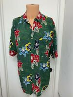 me sport mens hawaiian green camp shirt rayon floral short sleeve large vintage