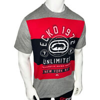 NWT ECKO UNLTD. LOGO AUTHENTIC MEN'S GRAY RED CREW NECK SHORT SLEEVE T-SHIRT