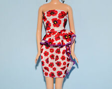 White w Red Purple Flowers Sleeveless Party Dress Genuine Barbie Fashion Clothes