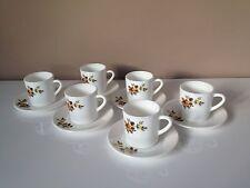 Tasses à café x 6 avec sous-tasses Arcopal France cuisine Rétro vintage, 70's