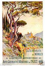 POSTCARD MONACO HILLSIDE 1925 EXPO INT'L DECORATIVE ARTS PARIS SIGNED A. MATHIS
