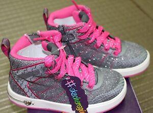Toddler Girl's Skechers Size 8 Gray/Hot Pink Shoutouts-GLITZ