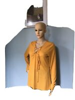 Next Womens Hip Length Ribbed Tie Front Top Uk Size 16 Mustard Yellow Lace Tie