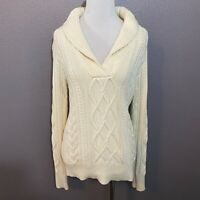 Eddie Bauer Women's Size S White Cable Knit V Neck Sweater Cotton Wool Blend
