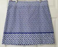 Talbots Womens Pencil Skirt Floral Cotton Blend White Blue Plus Size Size 14