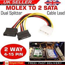 Molex 4pin to 2X 15pin ATA SATA Dual Power Y Splitter Adaptor Cable Lead 2 Way