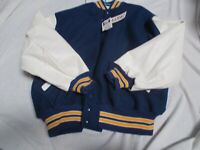 DELONG ADULT ROYAL BLUE WITH WHITE/GOLD TRIM QUILT LINED SCHOOL LETTER JACKET