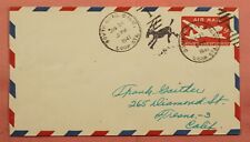 1947 SOUTH GATE CA LOOP STA. AIRMAIL KICKING MULE FANCY CANCEL STATIONERY