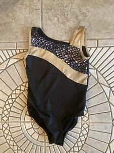 JUSTICE BLACK GOLDPINK SPARKLE LEOPARD LEOTARD Girls Gymnastics SZ 7 EEUC
