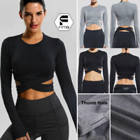 Women Yoga Gym Crop Top Compression Workout Athletic Long Sleeve T-Shirt Elastic