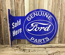 Ford Genuine Parts Large Flange Metal Tin Sign Vintage Garage Man Cave New