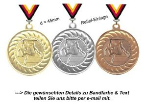 Fussball-Medaillen (Staffelpreise) Set aufgeteilt in 3 Farben-mit Band & Text
