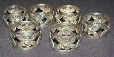 6 Serviettenringe 800er Silber Rosendekor Jugendstil