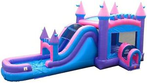 Commercial Inflatable Combo Mega Pink Bounce House Wet Dry Slide Castle