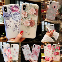 Cute Flower Pattern Slim Relief Matte Soft Case Cover For iPhone XS Max XR 8 7 6