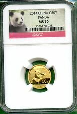 CHINA  PANDA 2014   NGC MS 70   1/10 OZ  GOLD   50 YUAN