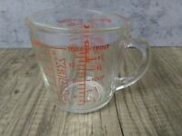 Vintage Red and Glass Pyrex #516 16 ounce 2 cup 500ml Measuring cup Baking  Home