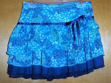 Girls Layered Teal/Blue Print Skirt Size 7