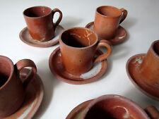 6 tasses et soucoupes en grès Vintage
