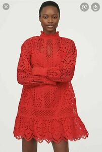 H&M TREND BRODERIE ANGLAISE RED DRESS PARTY ZIMMERMANN LOOK SIZE S BNWT