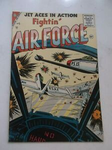 CHARLTON: JET ACES IN ACTION FIGHTIN' AIR FORCE #5, WWII/KOREAN WAR, 1956, FN/VF