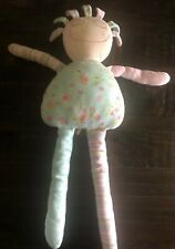 "Maison Chic Rag Doll 27"" Shabby Plush Pink & Blue Stuffed Lovey Floral Stripe"