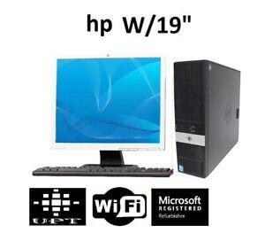 "HP Elite 19"" LCD Windows 10 Intel Core i3 3GHz  WiFi 8GB Desktop No DVD Drive"