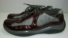 Prada Americas Cup Men's Burgundy Patent Leather Athletic Shoes Size -10