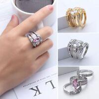 3x Paar Gold Versilbert Schmuck Engagement Zirkon Kristall Strass Ring Sets DE