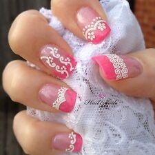 Brillo De Encaje Blanco calcomanías de uñas Pegatinas Arte en Uñas envuelve brillante YD103