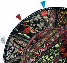 "Black 22"" Decorative Round Floor Pillow Cushion round embroidered Bohemian pouf"