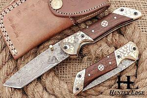 HUNTEX Custom Handmade Damascus 110mmLong Walnut Wd Hunting Folding Pocket Knife