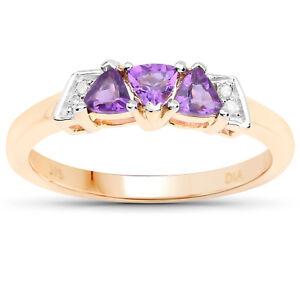 9ct Gold Amethyst & Diamond Engagement Ring,Size H,I,J,K,L,M,N,O,P,Q,R,S