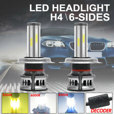 2x 6 Sides Canbus H4 LED Headlight Bulb 9003 Hi-Lo Beam lights 6000K 3000K 8000K