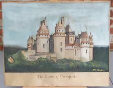 Antique Signed Watercolor European Castle on Heavy Watercolor Board