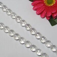 Blanc Cristal de Roche 14mm Ronde Facettes Perles 1 Fil